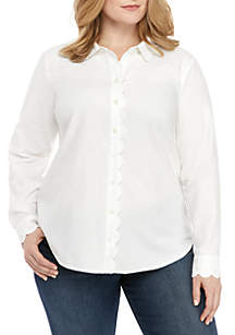 Crown & Ivy™ Plus Size Long Sleeve Scallop Button Up Top