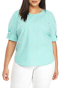 716627775f5 ... Crown   Ivy™ Plus Size Short Sleeve Gingham Top