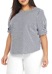 b22971df54cdb ... Crown   Ivy™ Plus Size Short Sleeve Gingham Top
