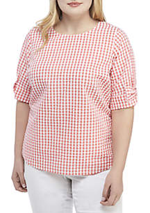 Crown & Ivy™ Plus Size Short Sleeve Gingham Top