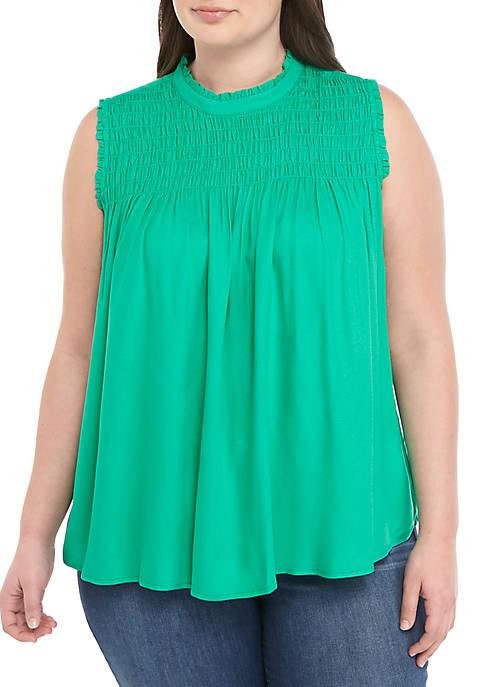 Crown & Ivy™ Plus Size Sleeveless Smocked Yoke