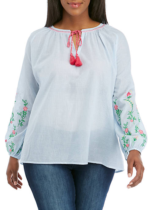 Crown & Ivy™ Plus Size Long Sleeve Split