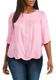 Crown & Ivy™ Plus Size 3/4 Sleeve Embroidered Peasant Top