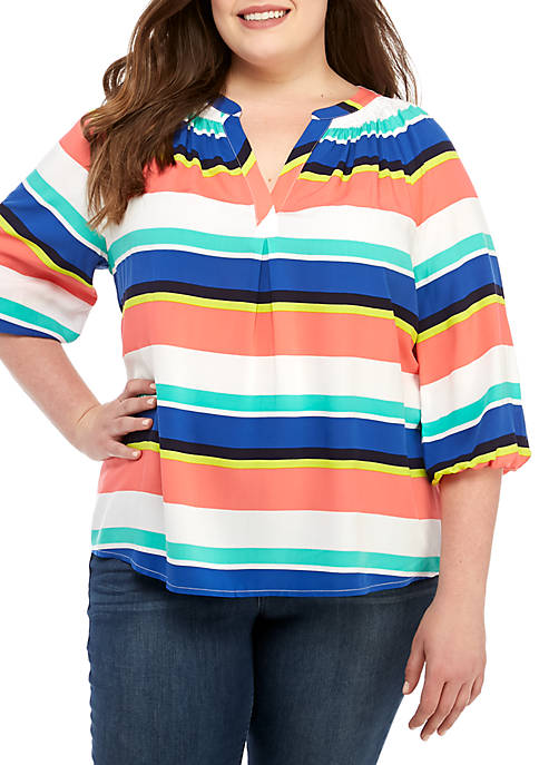 Crown & Ivy™ Plus Size 3/4 Sleeve Stripe