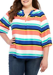 Crown & Ivy™ Plus Size 3/4 Sleeve Stripe Peasant Top