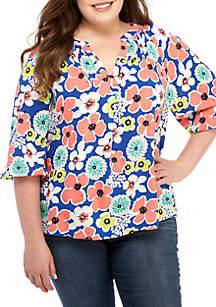 Crown & Ivy™ Plus Size Floral Print Peasant Top