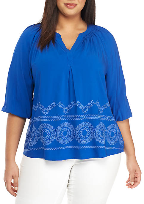 Plus Size 3/4 Sleeve Eyelet Trim Peasant Top