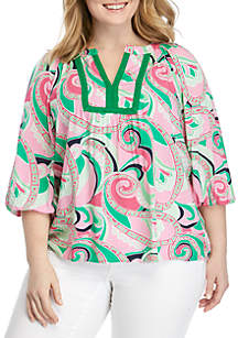 08154d34be2 ... Crown   Ivy™ Plus Size 3 4 Sleeve Keyhole Back Peasant Print Top