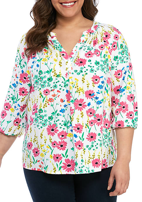 Crown & Ivy™ Plus Size Floral Peasant Blouse