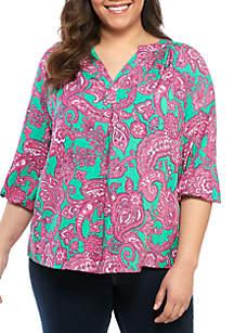 859522b0ff2 ... Crown   Ivy™ Plus Size 3 4 Sleeve Printed Peasant Top