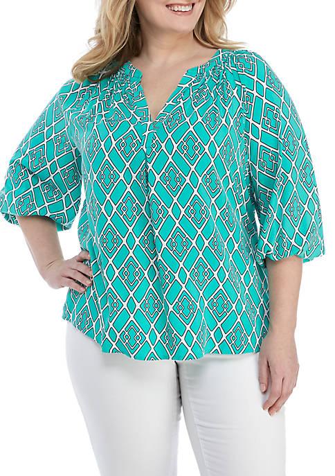 Crown & Ivy™ Plus Size 3/4 Sleeve Print