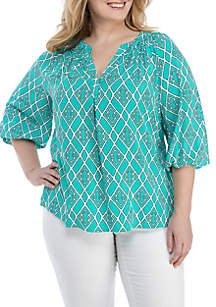 1a07bd9f5b7 ... Crown   Ivy™ Plus Size 3 4 Sleeve Print Peasant Top