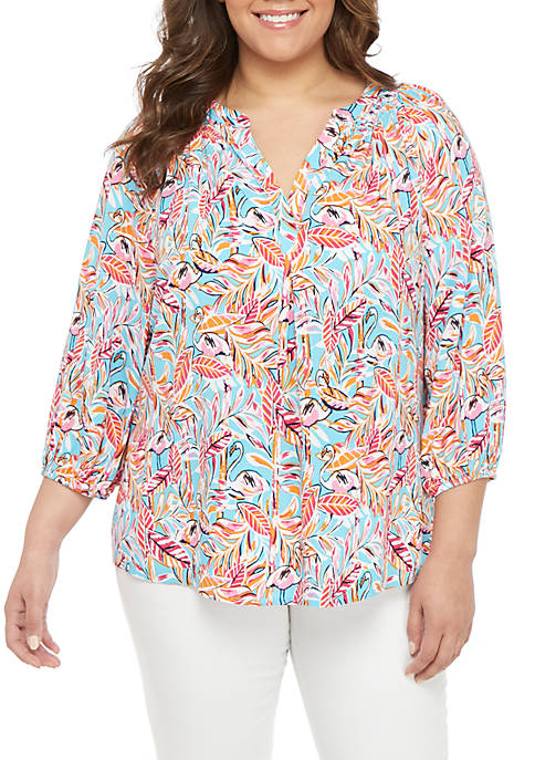 Crown & Ivy™ Plus Size Split Neck Printed