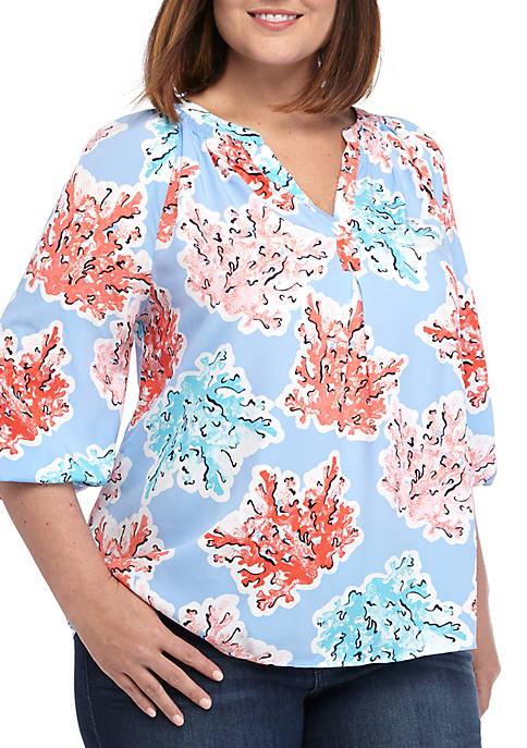 Crown & Ivy™ Plus Size 3/4 Sleeve Y