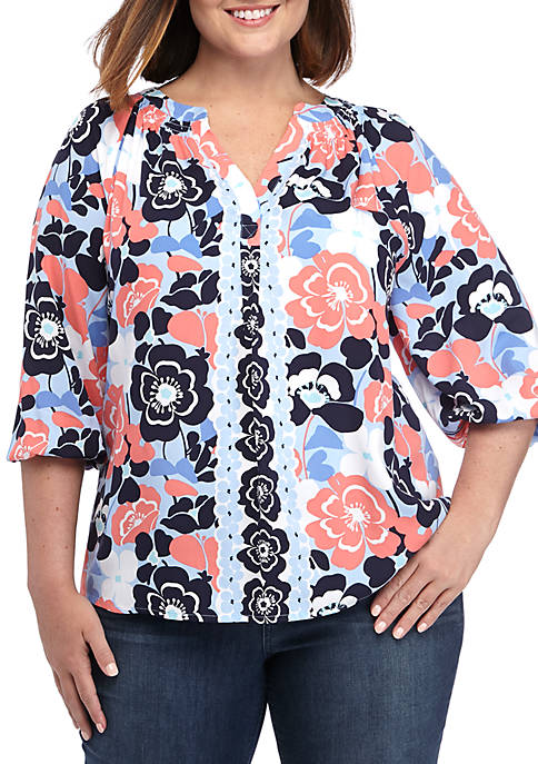 Crown & Ivy™ Plus Size Printed Peasant Tunic