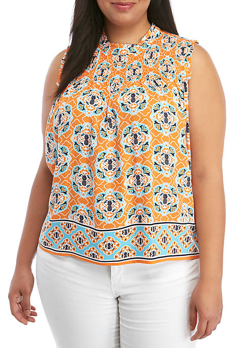 Crown & Ivy™ Plus Size Sleeveless Mocked Yoke