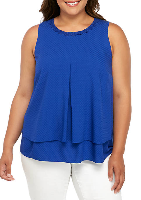 Crown & Ivy™ Plus Size Double Layer Tank