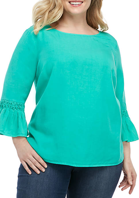 Crown & Ivy™ Plus Size 3/4 Sleeve Woven