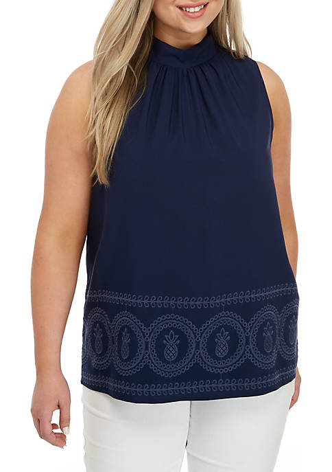 Crown & Ivy™ Plus Size Sleeveless Mock Neck