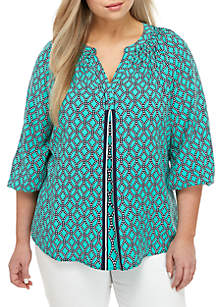 d87482ea87 ... Crown & Ivy™ Plus Size 3/4 Sleeve Y Neck Peasant Blouse