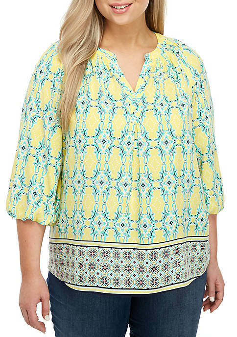 Crown & Ivy™ Plus Size 3/4 Sleeve Y