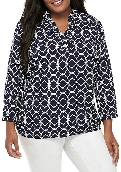 Crown & Ivy™ Plus Size 3/4 Sleeve Ruffle