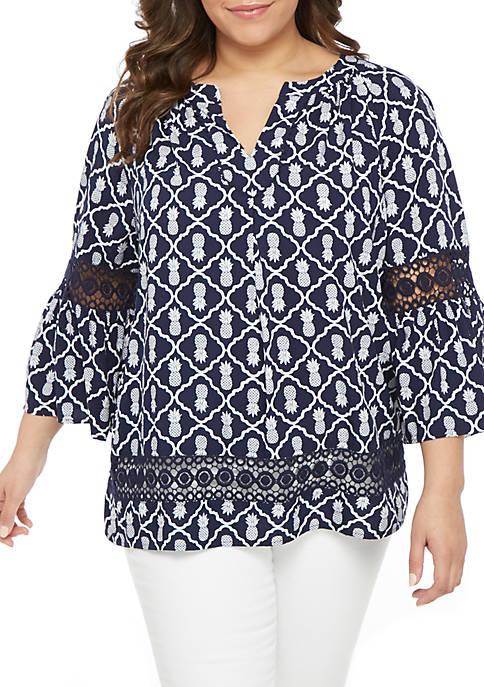Crown & Ivy™ Plus Size Crochet Trim Peasant