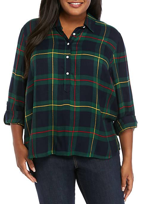 Crown & Ivy™ Plus Size Plaid Button Down