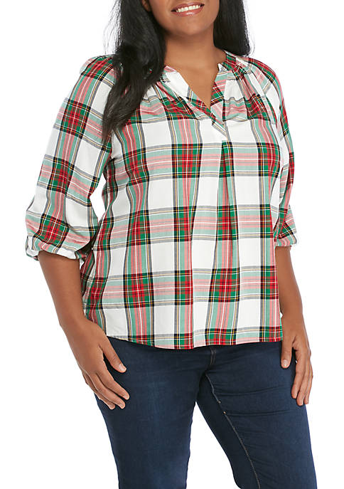 Crown & Ivy™ Plus Size Split Neck Peasant