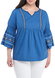 Plus Size Embroidered Flare Sleeve Top