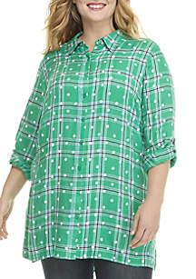 Plus Size 3/4 Roll-Tab Sleeve Tunic