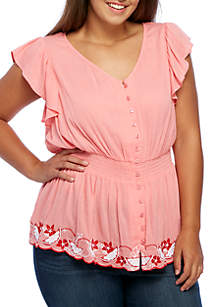 Plus Size Embroidered Elastic Top