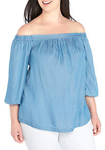 Plus Size Off-The-Shoulder Woven Top