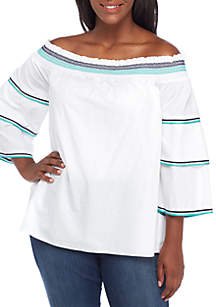 Plus Size Long Sleeve Off-The-Shoulder Top