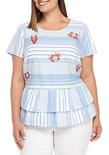 Plus Size Montauk Weekend Short Sleeve Crab Embroidered Blouse