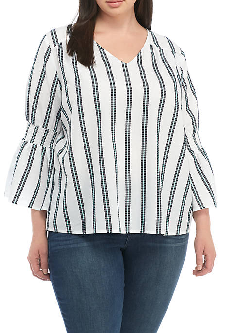 Crown & Ivy™ V-Neck Textured Peasant Top