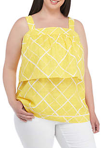 Plus Size Sleeveless Tier Front Printed Top