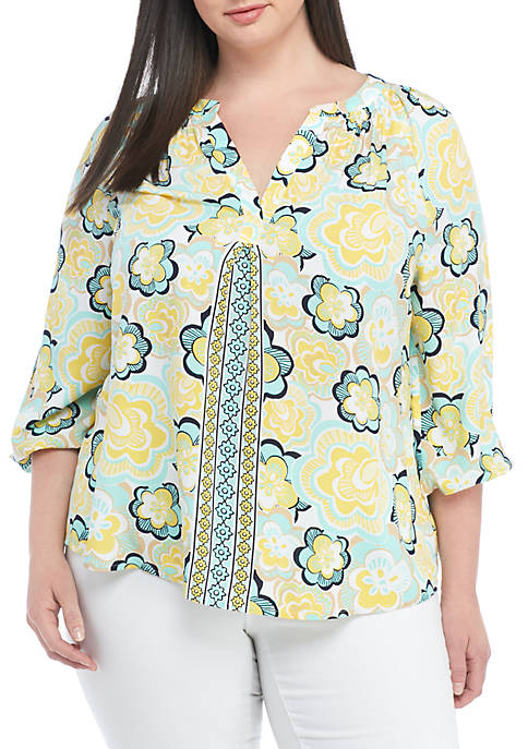 Crown & Ivy™ Plus Size Three-Quarter Print Peasant