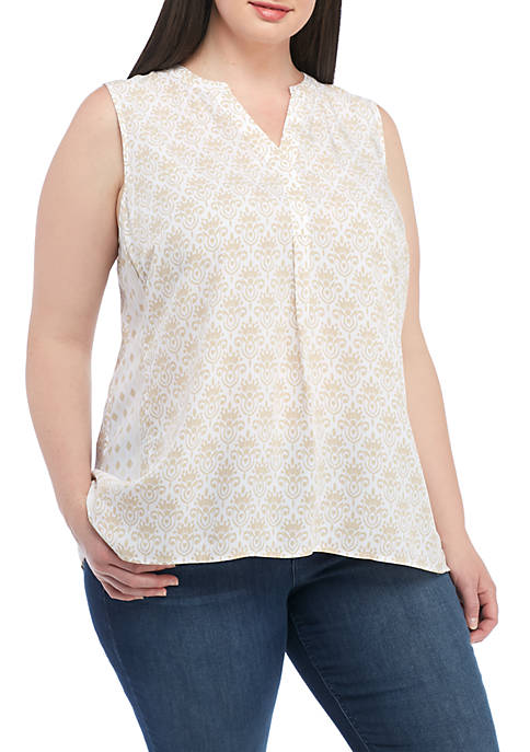 Crown & Ivy™ Plus Size Sleeveless Peasant Print