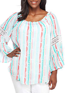 Plus Size 3/4 Sleeve Swing Stripe Top