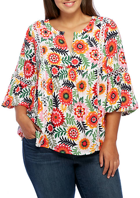 Crown & Ivy™ Plus Size Three-Quarter Bell Sleeve