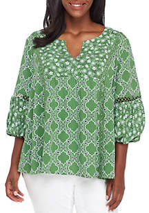 Plus Size 3/4 Bell Sleeve Crochet Peasant Top