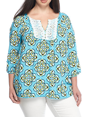 1747cfcd09aed2 Crown & Ivy™. Crown & Ivy™ Plus Size Crochet Trim Peasant Blouse