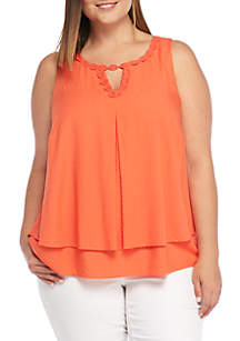 Sleeveless Double Layer Solid Tank