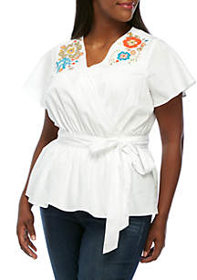 Plus Size Short Sleeve Embroidered Surplice Neck  Top