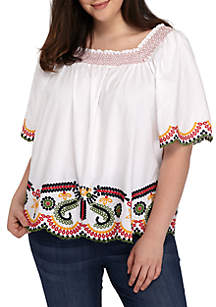 Plus Size Square-Neck Embellished Peasant Top