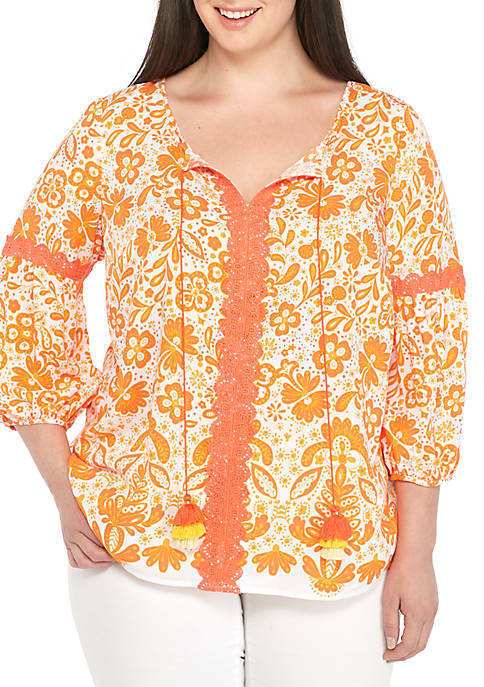 Crown & Ivy™ Plus Size Three-Quarter Sleeve Crochet