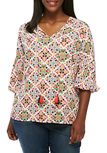 Plus Size Three-Quarter Sleeve Tie Front Top