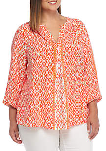 Plus Size 3/4 Sleeve Peasant Top