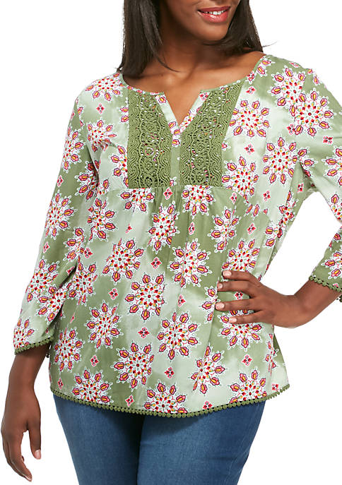 Crown & Ivy™ Plus Size 3/4 Sleeve Mixed